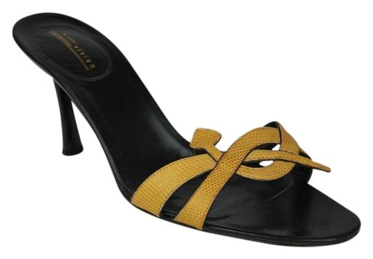 Preload https://img-static.tradesy.com/item/19750322/michel-vivien-gold-sexy-yellow-and-black-leather-shiny-heels-sandals-size-eu-39-approx-us-9-regular-0-1-540-540.jpg