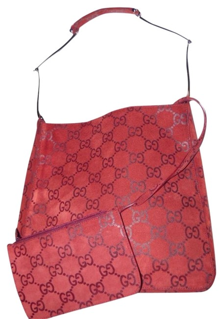 Gucci Vintage Purses/Designer Purses Red Suede & Leather with Embossed Large G Print Leather/Canvas Satchel Gucci Vintage Purses/Designer Purses Red Suede & Leather with Embossed Large G Print Leather/Canvas Satchel Image 1