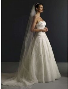 David's Bridal Ivory Long Cathedral Length with Beaded Metallic Edge Vct258long Bridal Veil