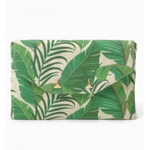 Stella & Dot Natural Green Botanical Clutch