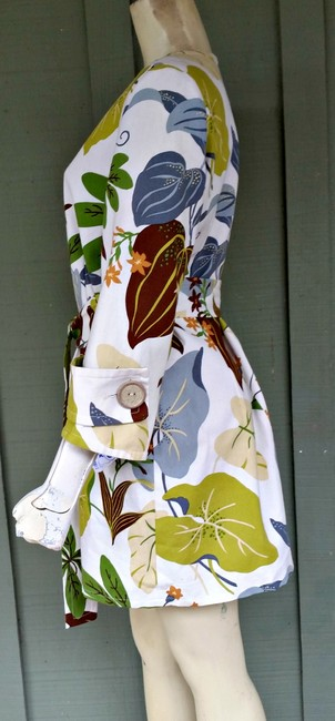 Other Canvas Zip Front Tie Belt Floral Kelly & Diane Lime Gray Trench Coat