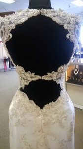 Maggie Sottero Ivory/Pewter Emboidered Lace Over Silky Satin Jade Sexy Wedding Dress Size 2 (XS)