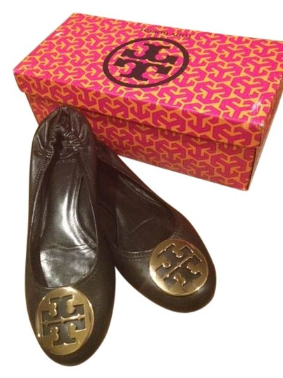 Tory Burch Leather Reva Black/Gold Flats