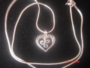 Unknown STERLING SILVER LOT BEAUTIFUL FILIGREE HEART MARCASITES PENDANT 16