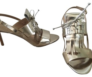 Banana Republic Gold patent with wood heel Sandals