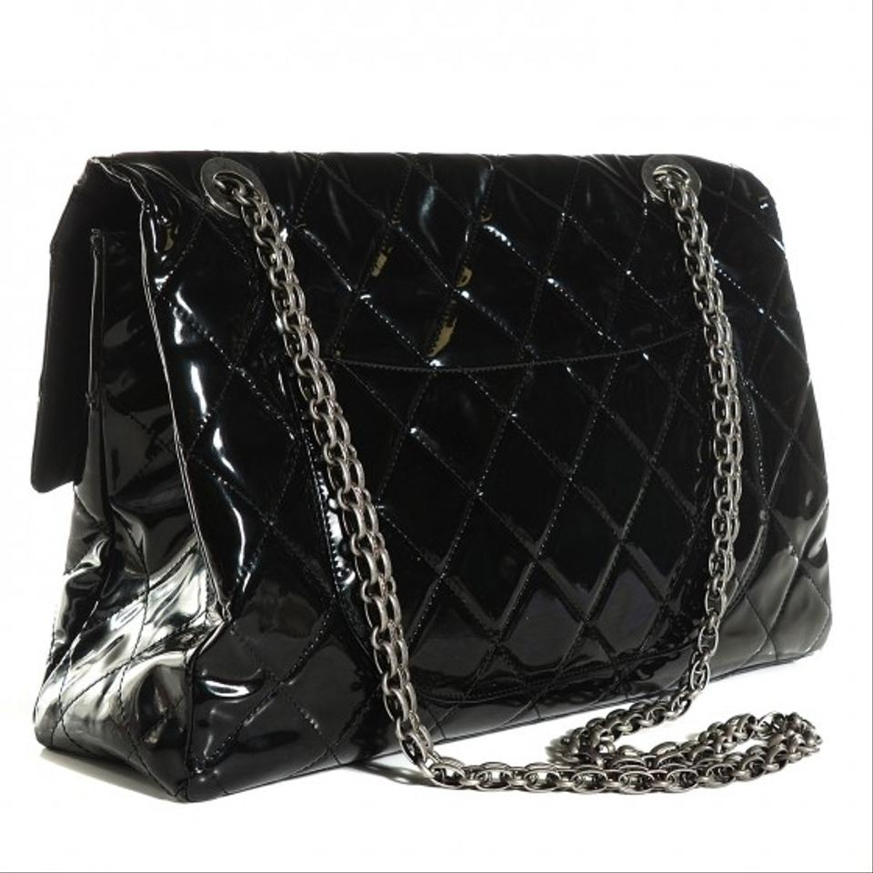86319ce21bd5 Chanel Classic Flap 2.55 Reissue Xxl Limited Edition Ultra Rare Black  Patent Weekend/Travel Bag - Tradesy