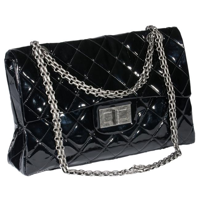 Chanel Classic Flap 2.55 Reissue Xxl Limited Edition Ultra Rare Black Patent Weekend/Travel Bag Chanel Classic Flap 2.55 Reissue Xxl Limited Edition Ultra Rare Black Patent Weekend/Travel Bag Image 1