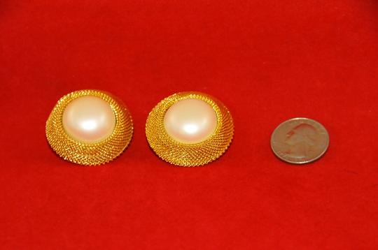 Joan Rivers Round Earrings Framed in Gold Plate W/ Fau Pearl NEW Clip ons