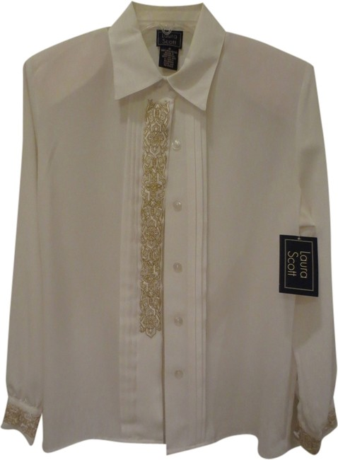 Preload https://item5.tradesy.com/images/laura-scott-off-white-stylish-golden-trim-button-down-top-size-8-m-1975129-0-0.jpg?width=400&height=650