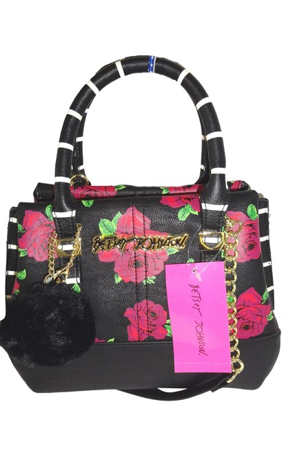 Betsey Johnson Triple Entry/Cross Body/ Black/Pink Roses Faux Leather Satchel Betsey Johnson Triple Entry/Cross Body/ Black/Pink Roses Faux Leather Satchel Image 1