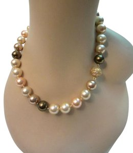 Stunning High End Large Faux Multi-Color Pearl Necklace Crystal
