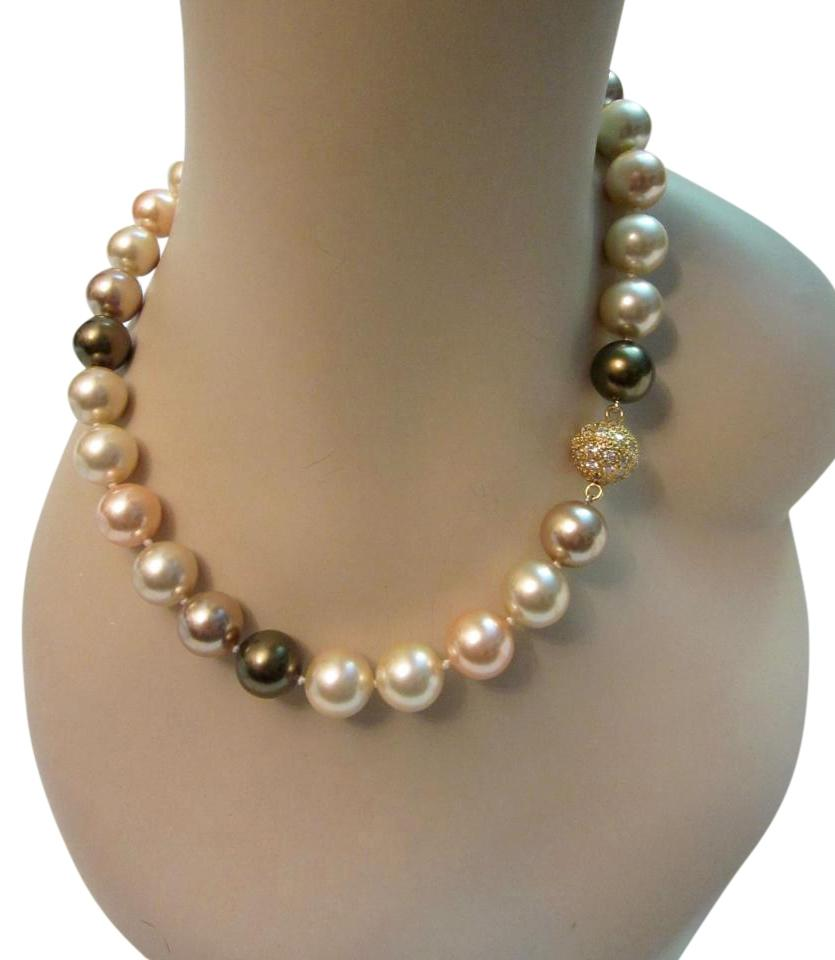 product with faux side pearl clasp lain necklace daisy classic diamante