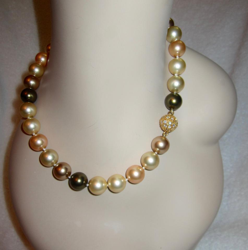 Other Stunning High End Large Faux Multicolor Pearl Necklace Crystal