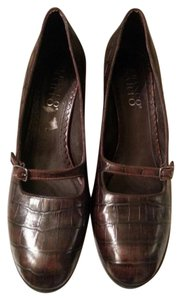 Franco Sarto Croc Embossed Mary Jane Leather brown Pumps