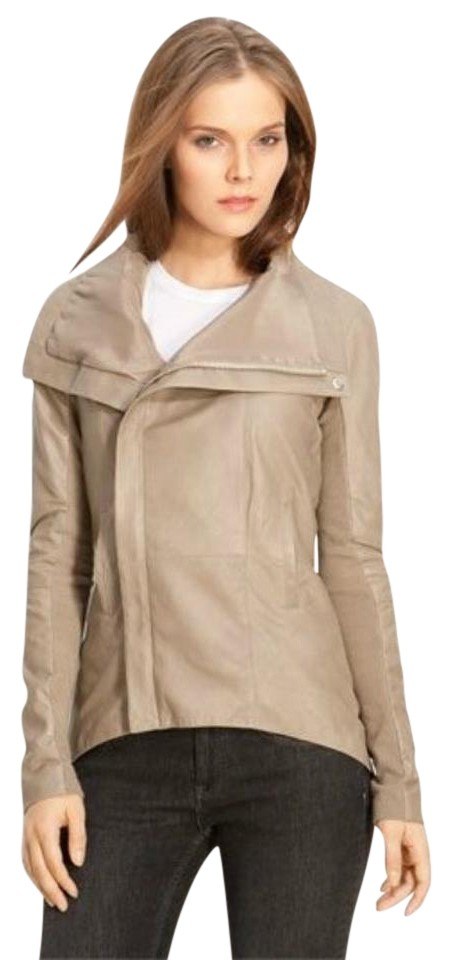 66cf1b2d4547 VEDA Tan Rick Owens Taupe Leather Jacket Image 0 ...