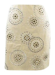 White House | Black Market Talbot Embellished Studded Skirt Tan/Taupe