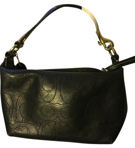 Coach Signature Leather Monogram Mini Wristlet in Black