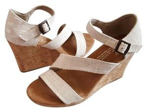 TOMS Wedge Natural Linen Beige Wedges