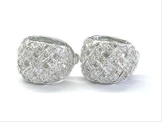 Tiffany & Co. Tiffany Co Platinum Vannerie Diamond Huggie Earrings 1.02ct