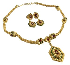 Yellow Gold Necklace and Earrings Set