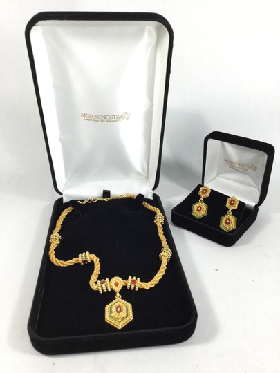 Other Yellow Gold Necklace and Earrings Set