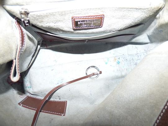 Lambertson Truex Chrome Hardware Excellent Condition Italian Made Xl Hobo High-end Bohemian Satchel in brown textured leather with white contrast stitching