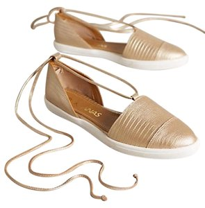 KAANAS Leather Tassels Gold Flats