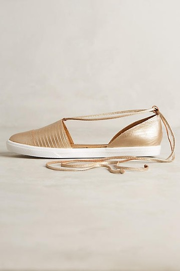 Anthropologie Leather Tassels Gold Flats