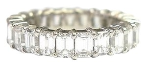 Fine,Emerald,Cut,Diamond,Shared,Prong,Eternity,Band,Ring,Wg,3.50ct,Sz5.5