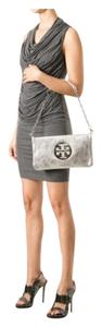 Tory Burch Reva New Metallic Silver Clutch