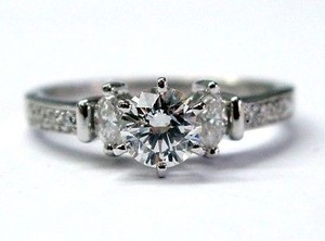 Platinum Diamond 3-stone Engagement Jewelry Ring .72ct