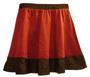 Charlotte Russe Mini Skirt Burgundy with Faux Black Leather Trim