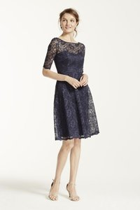 David's Bridal Marine Short Lace Dress With Illusion Neck And Sleeves F15721 Dress