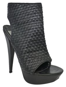 Dolce Vita Peep Toe High Heel Leather Black Boots