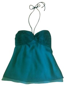 Wendy Hil Chiffon Sweetheart Empire Waist Flowy Top Teal