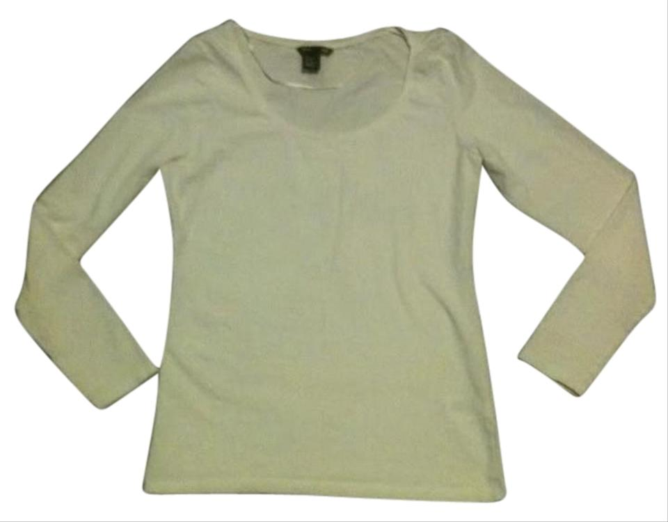 4e636066f15370 H&M White Long Sleeved Scoop Neck T-shirt Tee Shirt Size 6 (S) - Tradesy