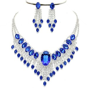 Elegant Design Silver Sapphire Blue Crystal Necklace Bib Collar Drop Dangle Earring Set