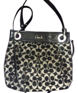 Coach Cross Body Kelsey Yellow Satchel in Black/white