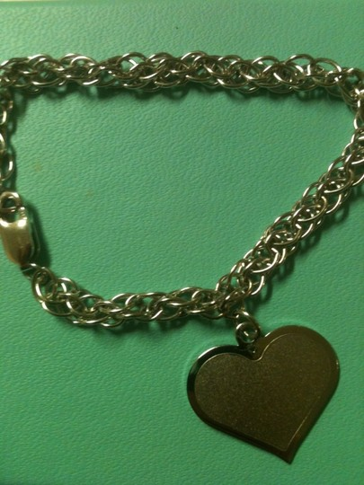 Other .925 Silver Heart Pendant Charm on Link Chain Bracelet