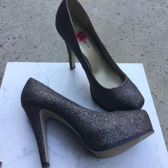 Steve Madden Sparkle Stiletto Platform Party Black & Multi color glitter Pumps