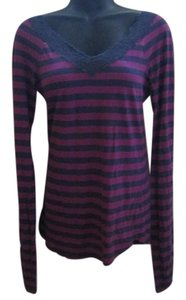 Free People Stripes Lace Fall Autumn T Shirt Purple & Grey