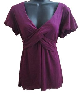 Ann Taylor LOFT Mesh Nylon Stretchy Fall Top Purple