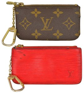 Louis Vuitton Lot of 2 Monogram Key Pouch and Red Epi leather Key Pouch