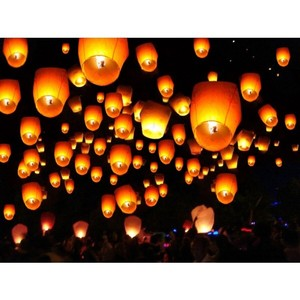 White 50-pack Chinese Paper Lanterns Wishing Lights Reception Decoration