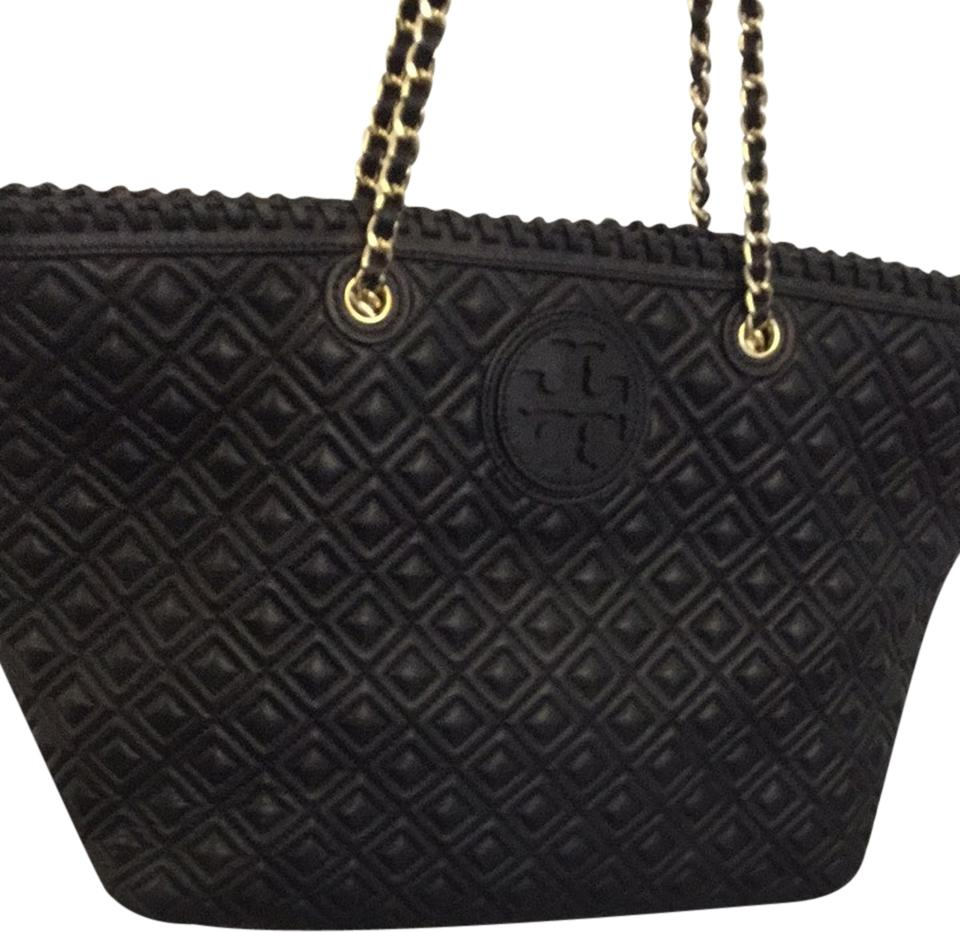 abadac1b5445 Tory Burch Marion Quilted Tote Black Leather Shoulder Bag - Tradesy