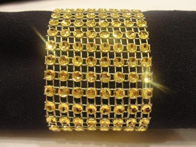 Gold 200 Rhinestone Style Napkin Rings / Sash Holders Reception Decoration Image 1