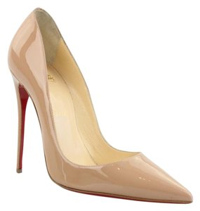 Christian Louboutin Slips On Patent-leather Pointed Toe Made In Italy Nude Pumps