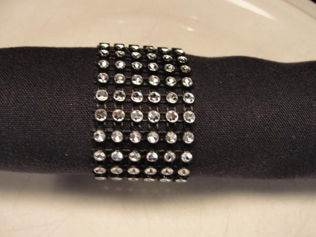 Item - Black and Silver 100 Bling Rhinestone Style Napkin Rings Party Tableware