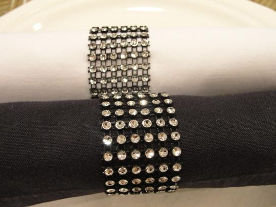Black and Silver 100 Bling Rhinestone Style Napkin Rings Party Tableware