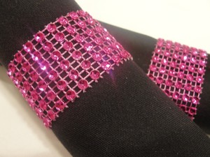 200 Wedding Hot Pink Tone Bling Diamond Mesh Rhinestone Napkin Rings (6 Rows) Quinceanera - Baby Shower- Bridal - Party